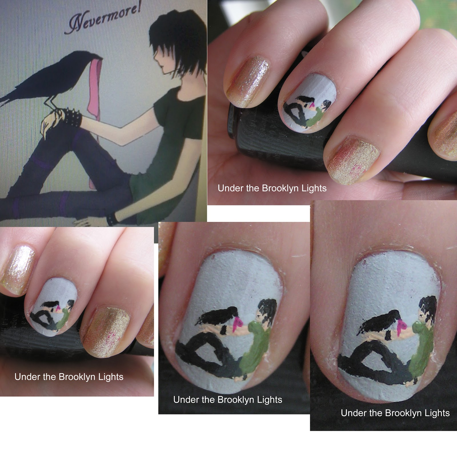 Under the Brooklyn Lights: Nevermore(Book) Inspired nail art!