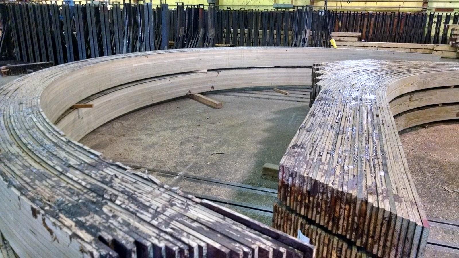 Curved Laminated Wood Beams ~ Horizontally curved glulam beam for harborwalk park wood