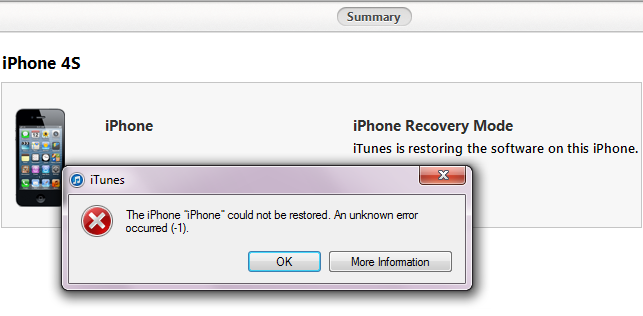 iTunes Error -1 fix