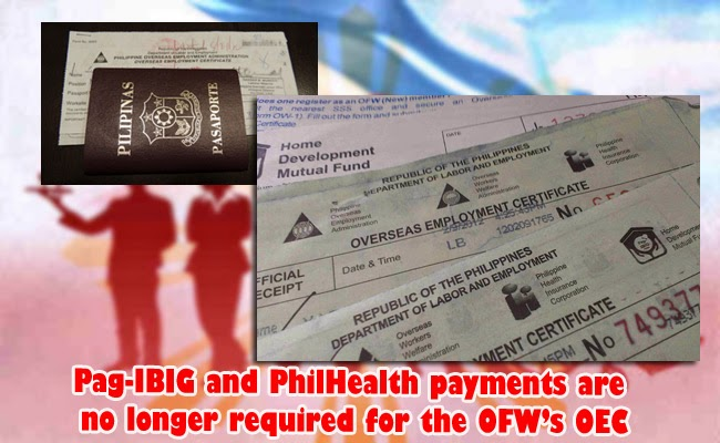 Pag-IBIG and PhilHealth payments are no longer required for the OFW's OEC