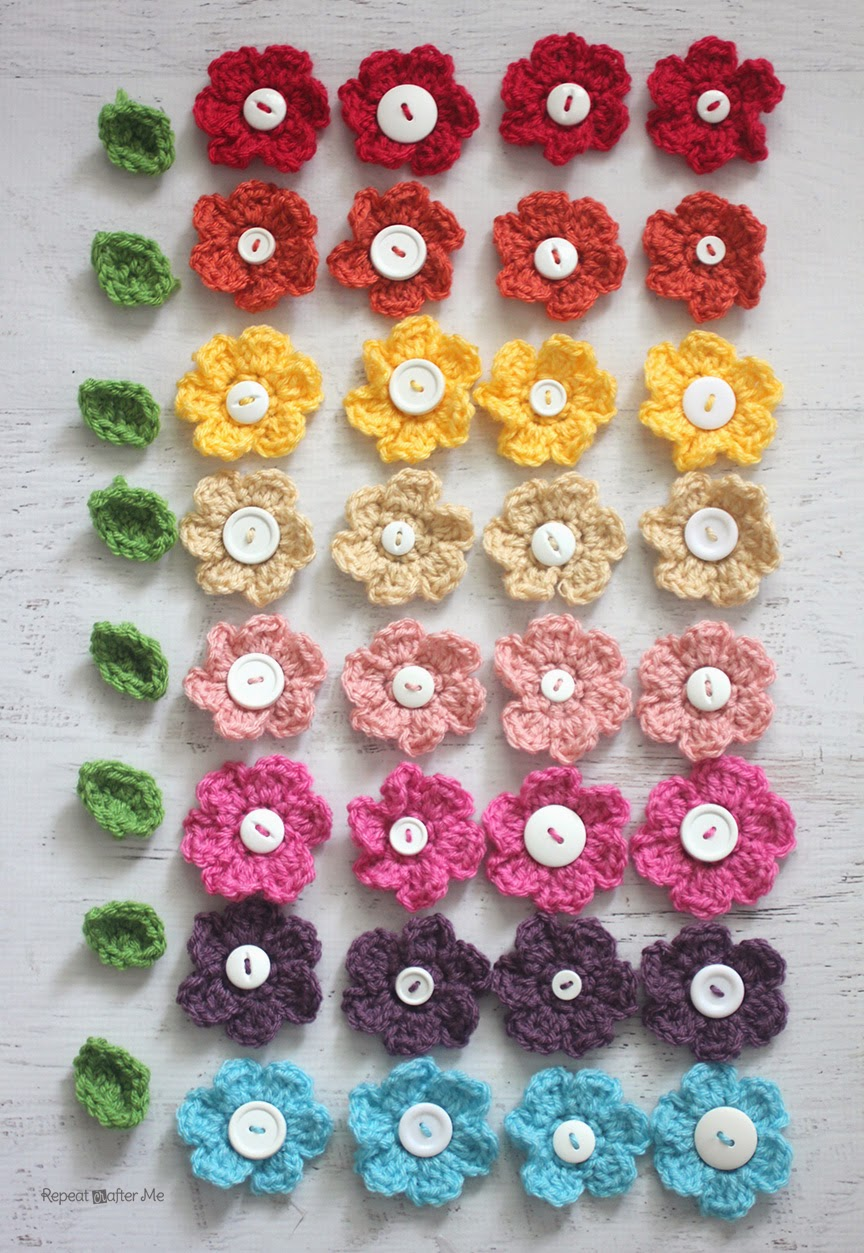 Crocheted spring wreath repeat crafter me bloglovin now make your flowers use my simple spring crocheted flowers pattern then make your leaves i followed this crochet leaves pattern by mamachee bankloansurffo Images