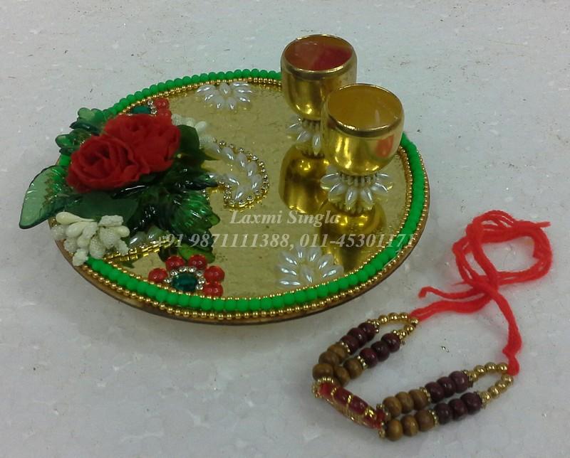 Pooja thali for rakhi pooja aarti thali decoration for Aarti thali decoration