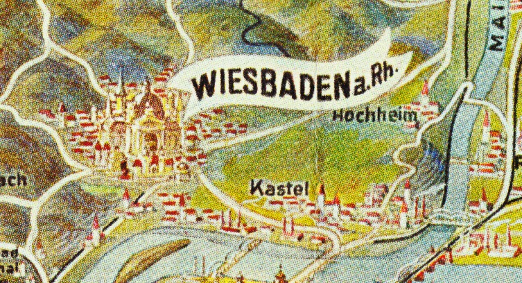 Papergreat Circa 1951 illustrated map of Taunus and Rhine West Germany