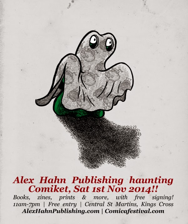 flier for alex haha's convention appearance at committee 2014, shows blop dressed as a ghost