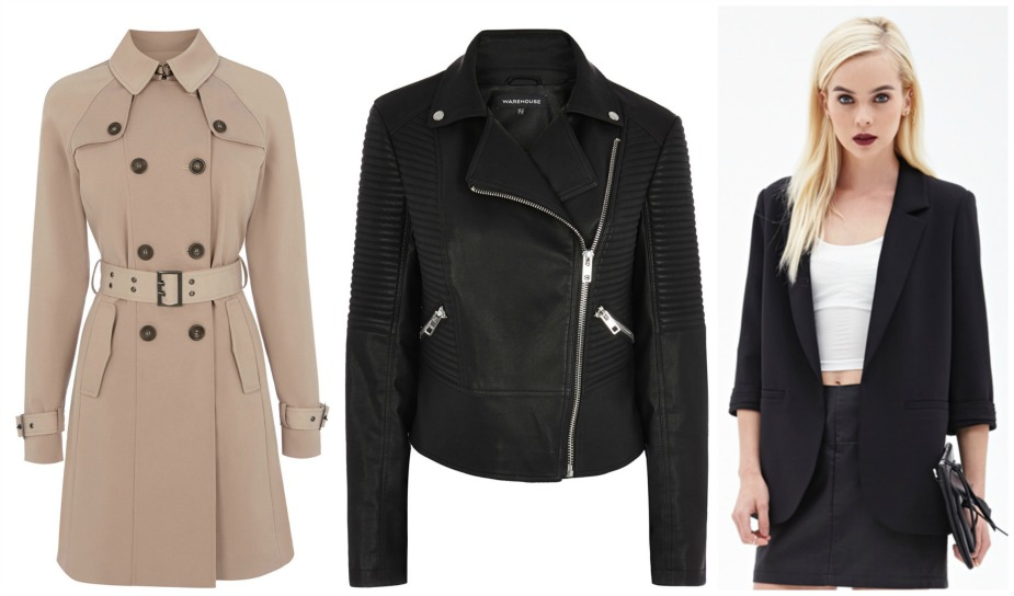 high street wardrobe basics staples essentials,jackets, coats, mac, trench coat, warehouse, leather jacket, blazer, forever 21