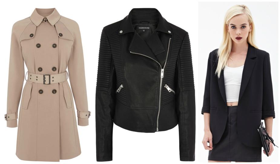 high street wardrobe basics staples essentials,jackets, coats, mac, trench coat, warehouse, leather jacket, blazer, forever 21