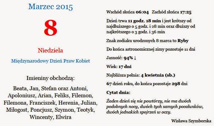Kartka z kalendarza - 8 marzec 2015