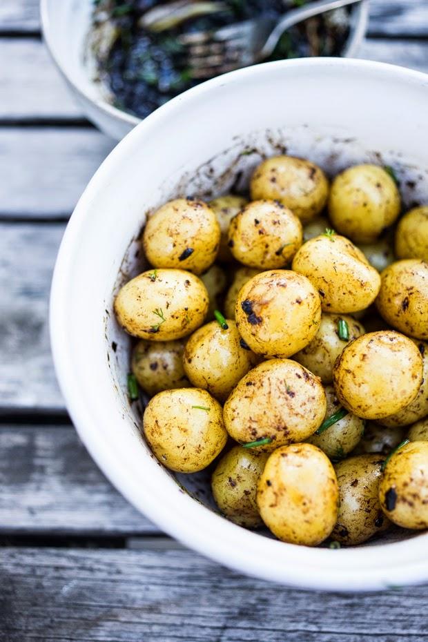 Feasting at Home : Grilled Potato Salad with Black Garlic Vinaigrette