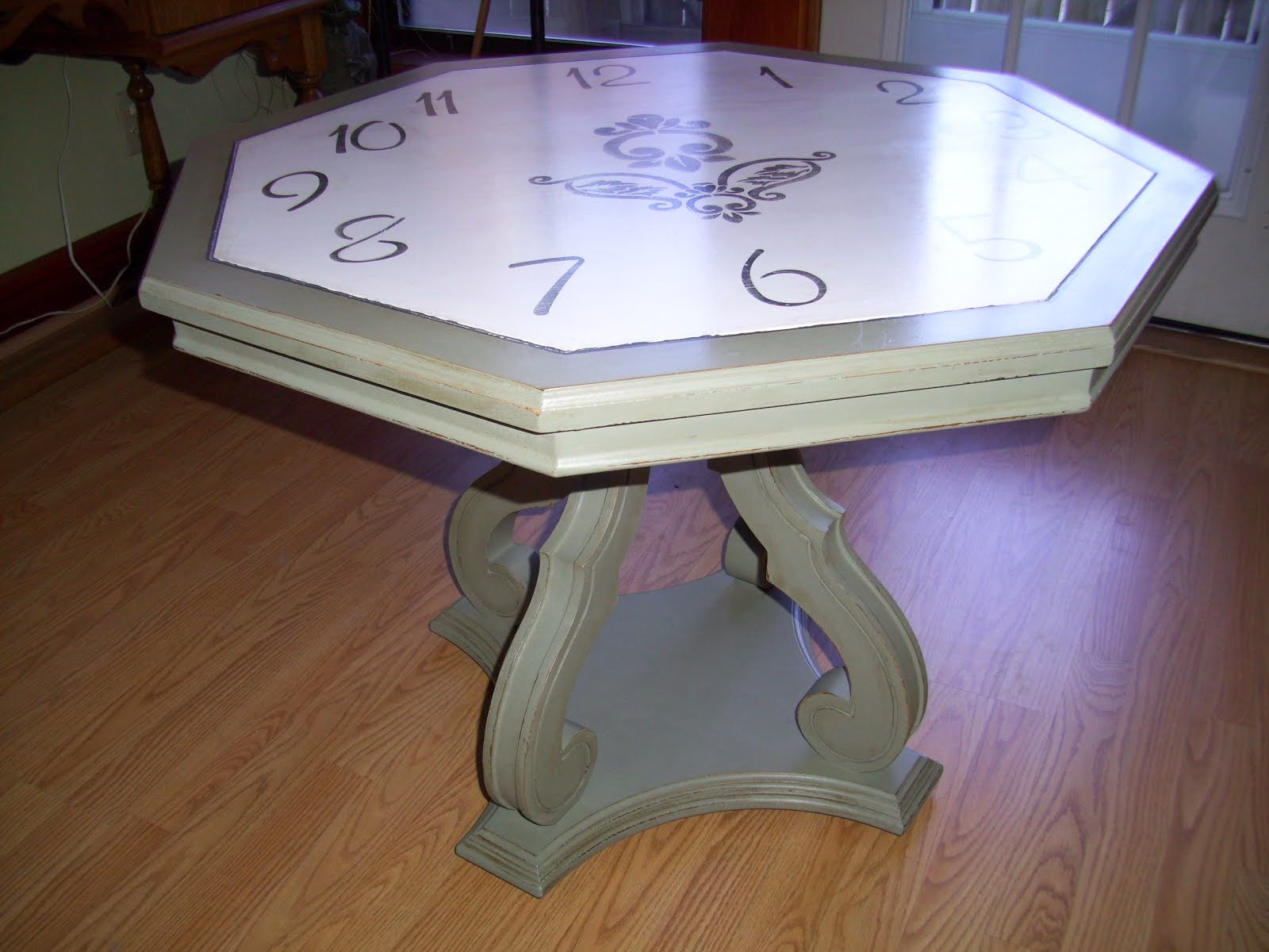 Handpainted Clock Table