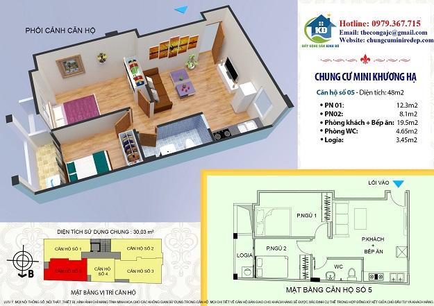 bán căn hộ chung cư Khương Hạ - Thanh Xuân 48 m2 2 phòng ngủ