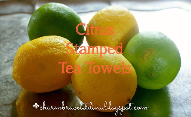 lemons limes citrus stamped tea towels