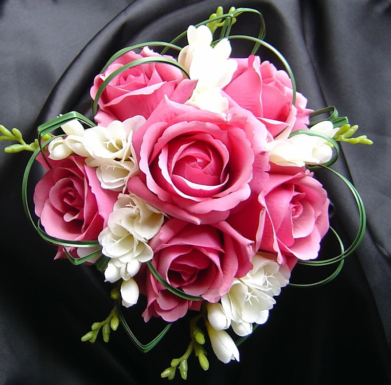 Emma G Replica Pink Rose and Ivory Freesia Bouquet title=
