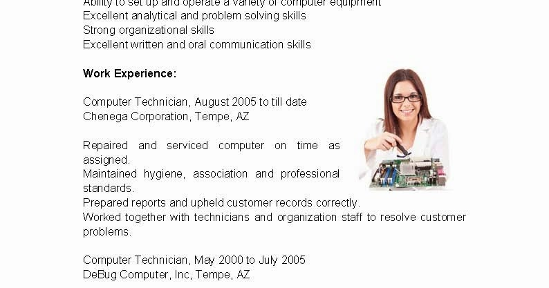 resume samples  computer technician resume sample