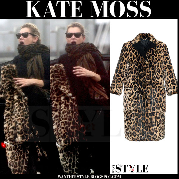 Kate Moss in leopard print fur burberry coat what she wore models off duty