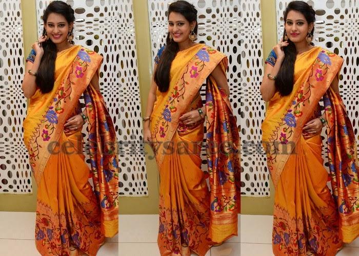 Swetha Jadhav Mustard Silk Saree