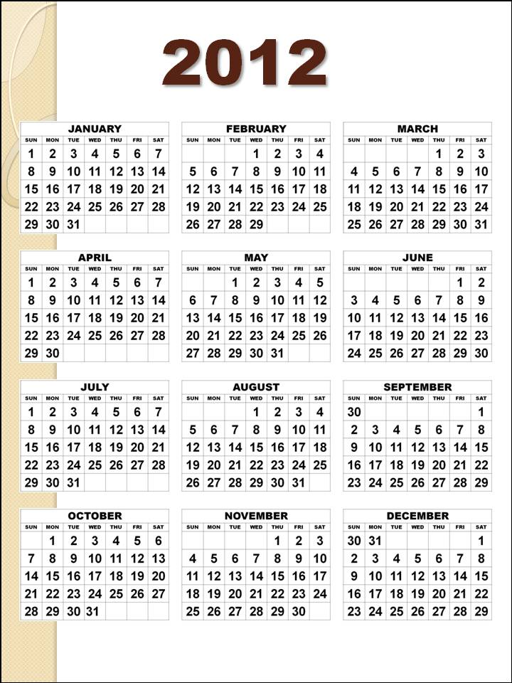 yearly calendar 2012 printable. dresses yearly calendar 2012