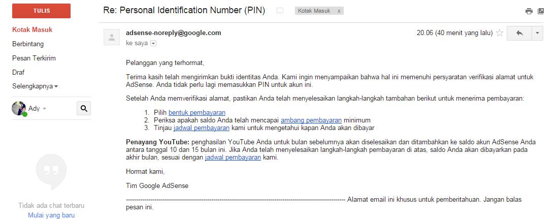 Verifikasi Alamat Berhasil Setelah 3 kali Permintaan PIN