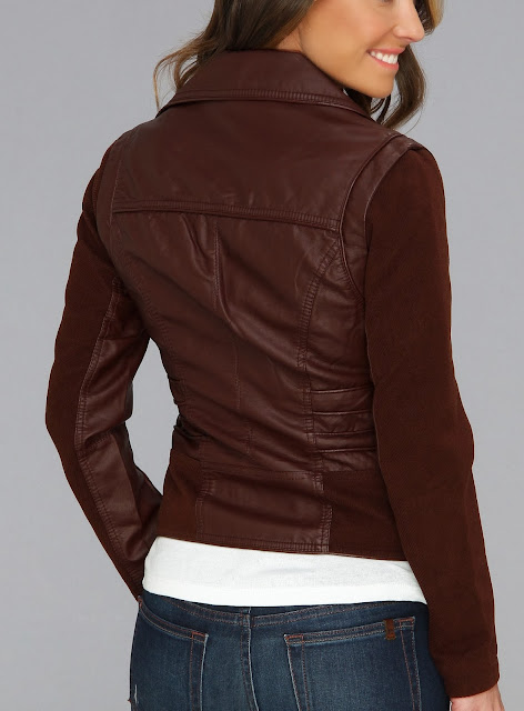 Members Only Quilted Vegan Leather Moto Jacket Back