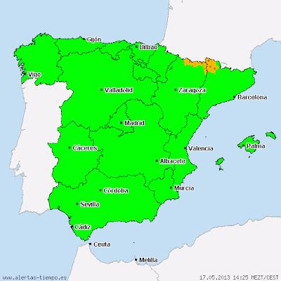 23 PROVINCIAS ESPAÑOLAS EN ALERTA POR NIEVE, TORMENTAS Y VIENTOS FUERTES, 17 de Mayo 2013