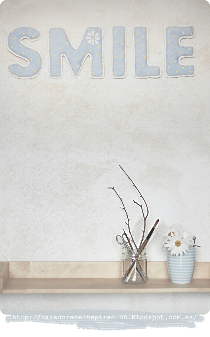 fabric letters,word smile,smile,wall decoration,blue