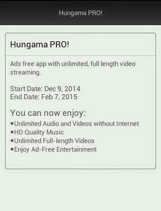 Aircel Hungama Pro Subscription totally free for two months