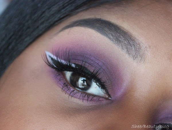 purple eye makeup with velous lashes in doll me up