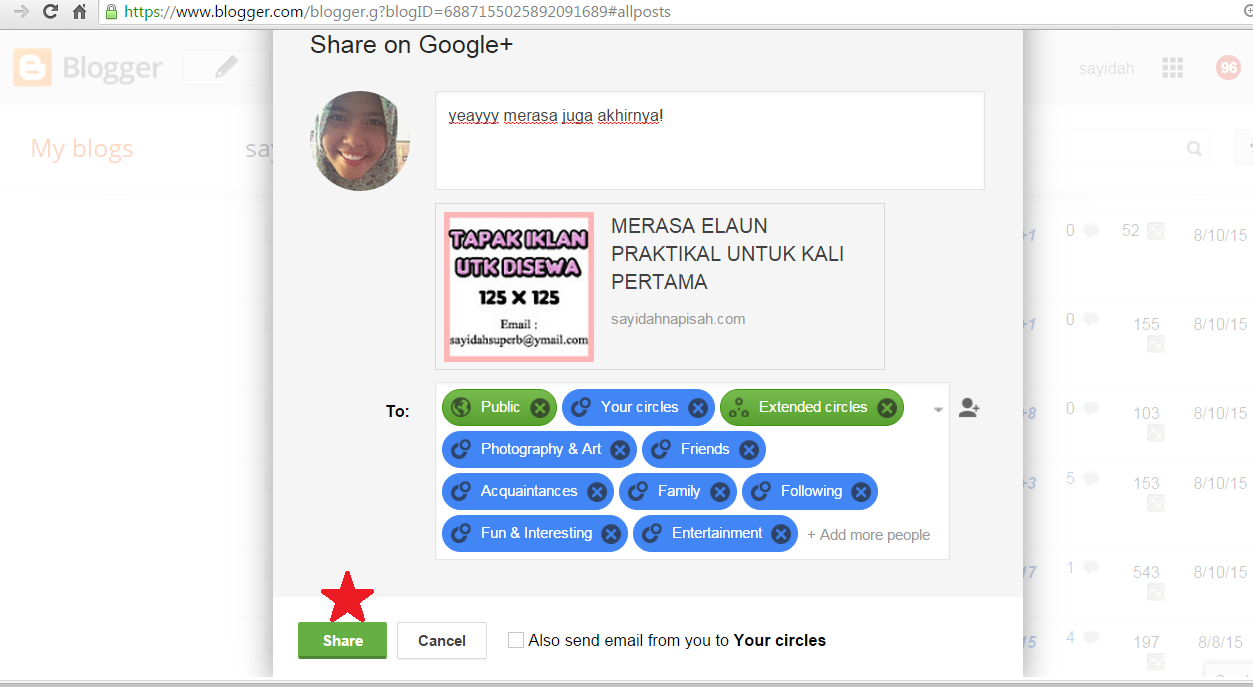 CARA PING ENTRY DI GOOGLE+