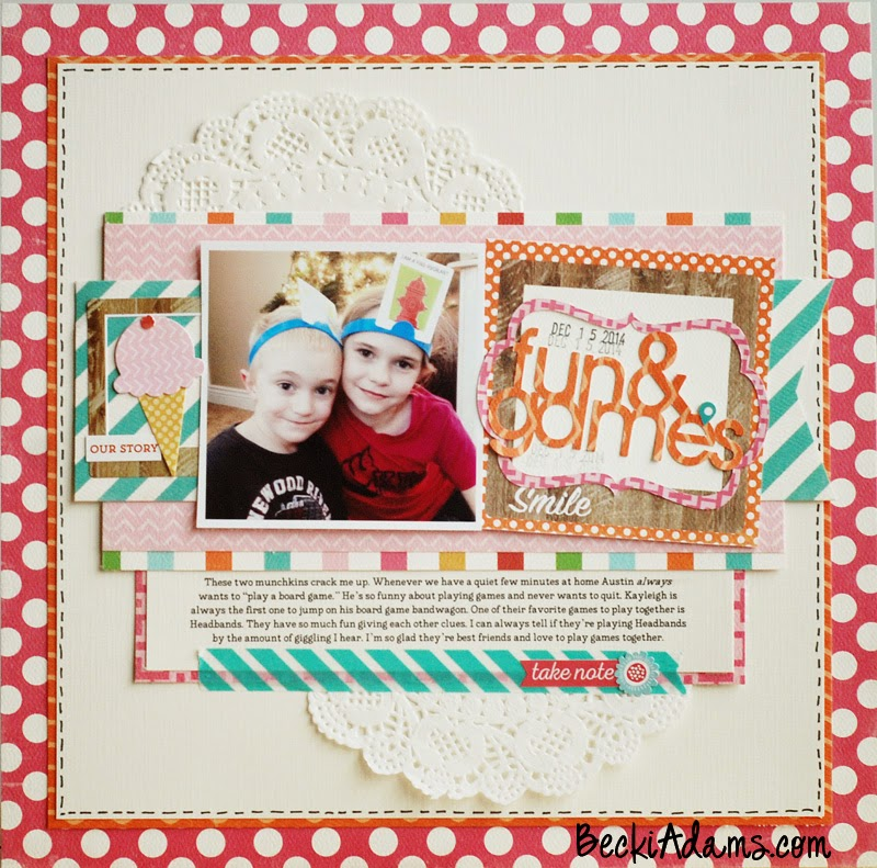 A layout created by Becki Adams @jbckadams using the Carta Bella Soak Up the Sun collection with a tutorial #scrapbooking #tutorial #papercrafting #scrapbook