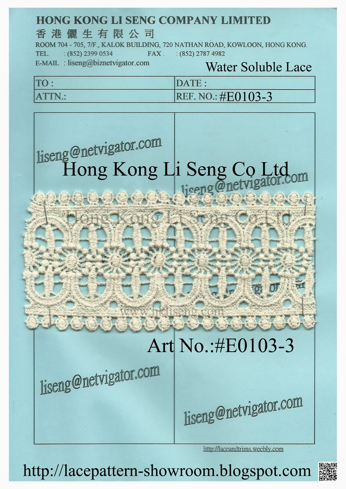 New Pattern Water Soluble Lace Manufacturer Wholesale and Supplier - Hong Kong Li Seng Co Ltd