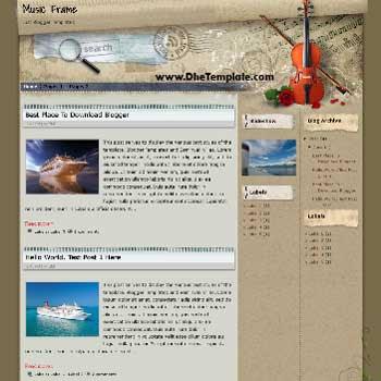 Music Frame Blogger Template. template for music blog