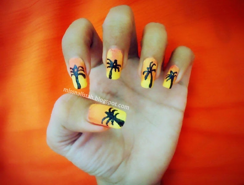 ♥ CC\'s NAILS ♥: Gradient Tropical Sunset Nail Art