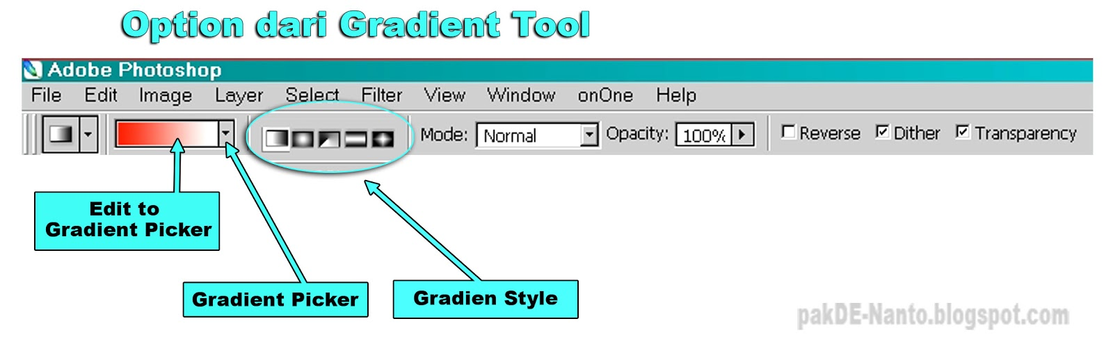 Gambar 2. Option bar dari Gradient Tool