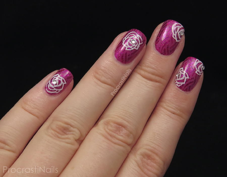 Rose stamped nail art with CND Vinylux Garden Muse polishes Butterfly Queen and Crushed Rose