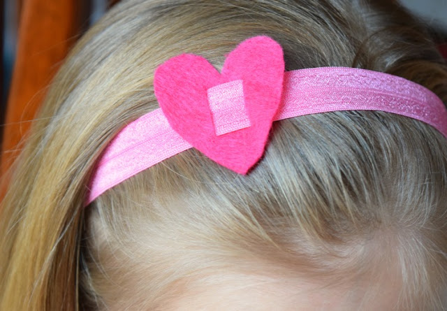 Valentine's Day Headbands and Ponytail Holders made with fold-over elastic