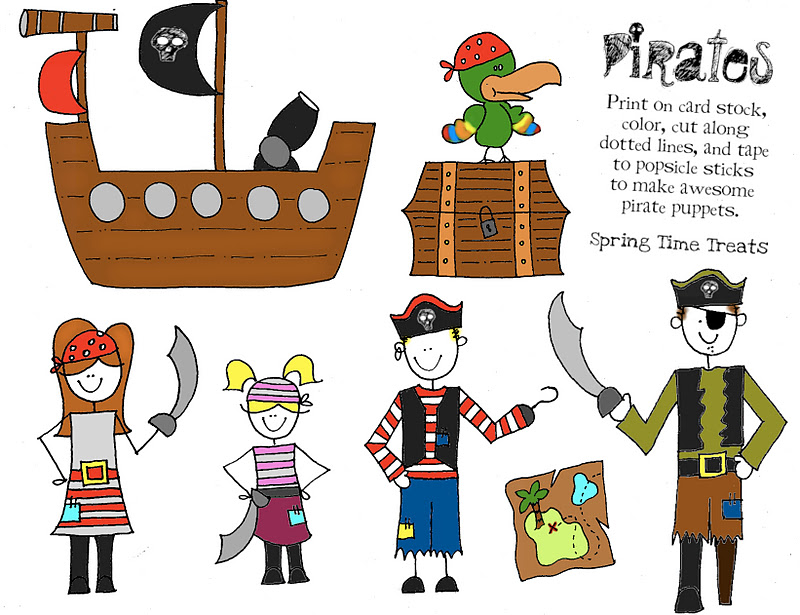 paper puppets pirate cowboy fairy free printables