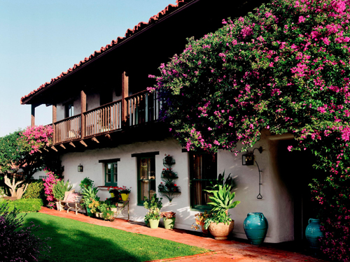 Spanish Colonial Revival Home Wood Balcony Clay Tile Roof Stucco