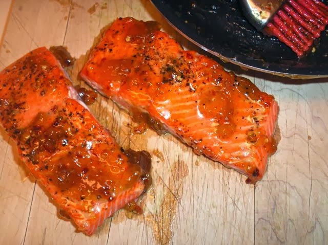 pan-roasted salmon with fig-and-chile glaze
