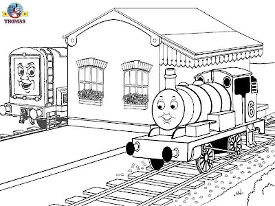 Diesel Thomas the train coloring pictures for boys to print out and color in Percy the green engine