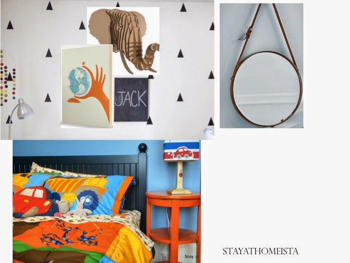 boy bedroom inspiration with decals, collage wall, cardboard animal head, and a nautical mirror
