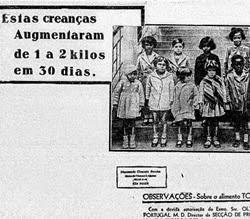 Propaganda do Toddy em 1933 que apresentava o produto como auxiliar para ganho de peso em crianças.