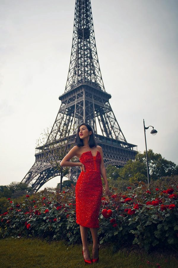Eiffel Tower, red dress and roses