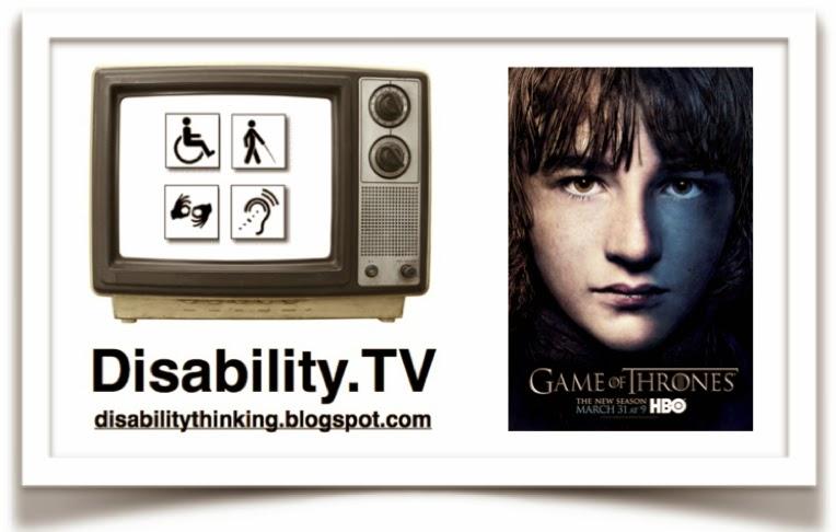 Disability.TV logo on the left, poster of Bran Stark on the right