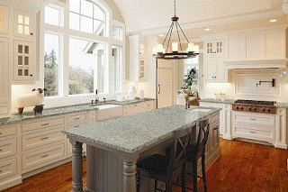classic kitchen design with quartz countertop
