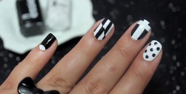 Decoración de uñas blanco & negro