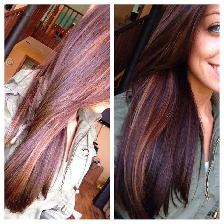 highlights carmel peek a boo highlights with dark brown hair