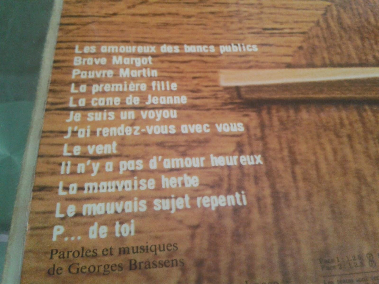 Los mil y un vinilos georges brassens 2 les amoureux des - Les amoureux des bancs publics brassens ...