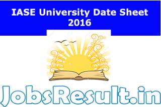 IASE University Date Sheet 2016