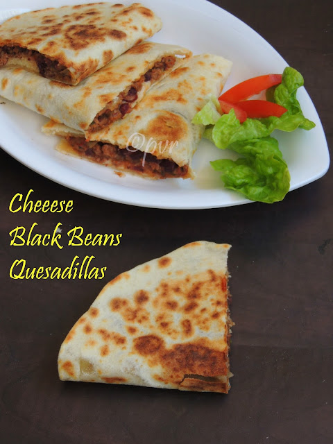 Black beans ,cheese quesadillas