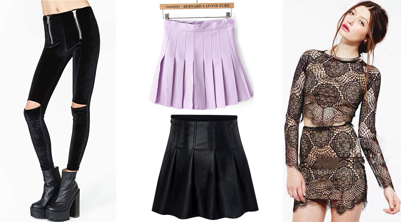 My favorite leggings, skirts, and sets from SheInside, including cutout velvet leggings, a pleated tennis skirt, a pleated leather skirt, and a lacey set with a long sleeve crop top and bodycon skirt!