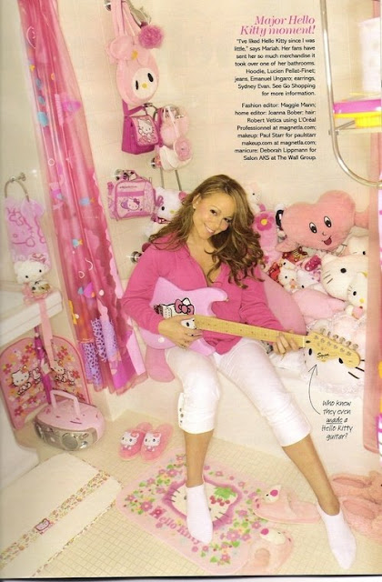 Mariah Carey in her Hello Kitty bathroom with huge Hello Kitty collection